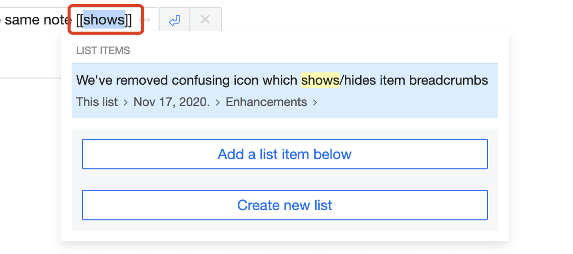 Select a word and create a link