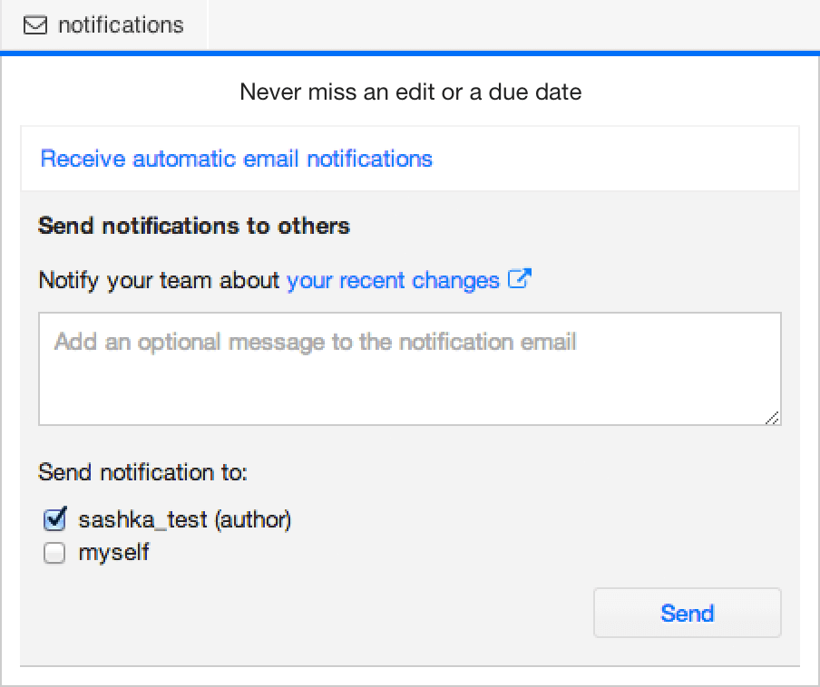 Send direct email notifications to your peers