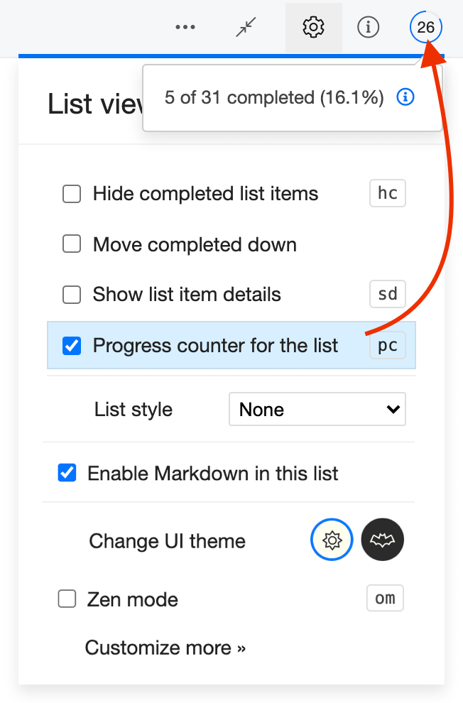 Progress counter