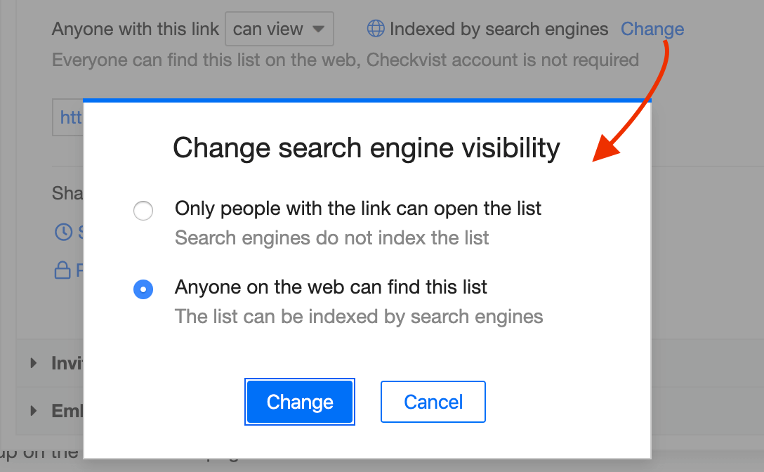 Change search engine visibility