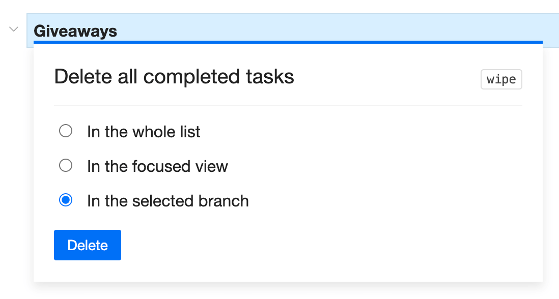 Delete all completed tasks